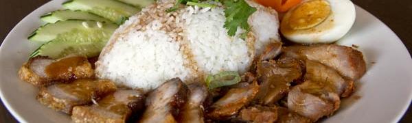Khao Moo Dang (BBQ Pork & Crispy Pork)